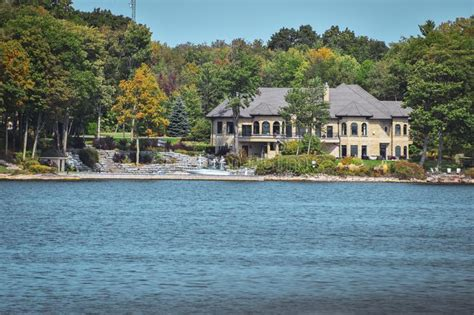 Thousand Islands in fall stock photo