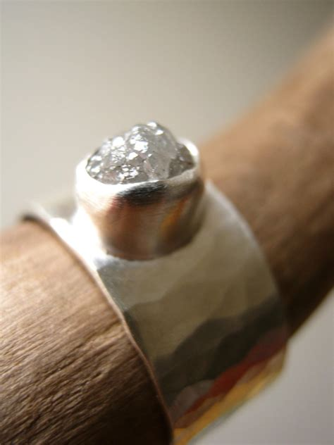 Rough diamond on Wide Hammered band Engagement Wedding