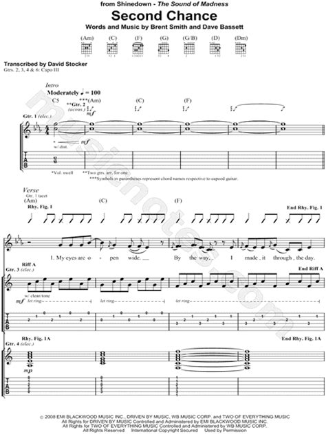 """Shinedown """"Second Chance"""" Guitar Tab in C Minor - Download"""
