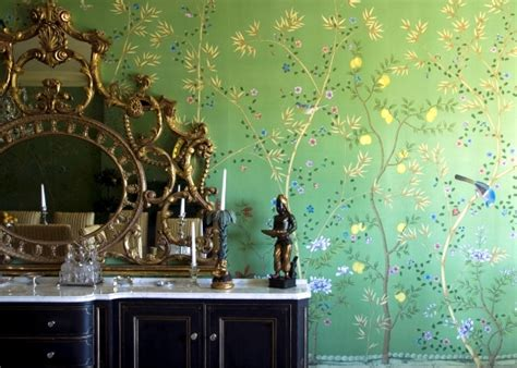 Hand-painted Chinese silk wallpaper with Chinoiserie