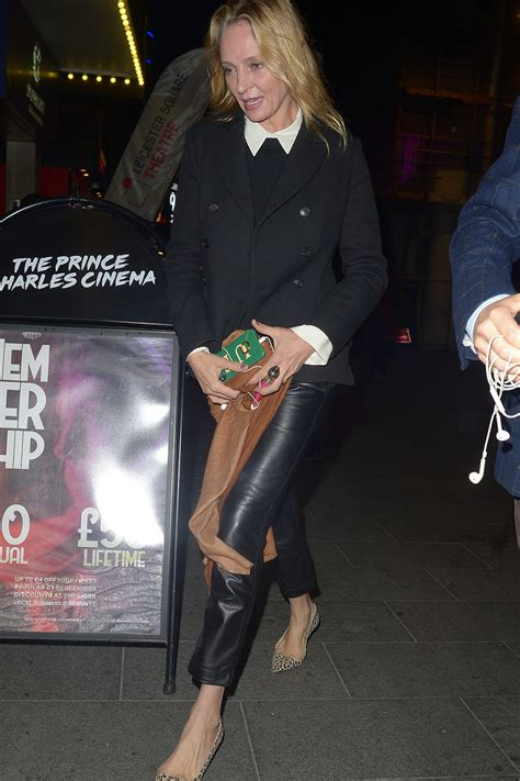Uma Thurman out in London - Leather Celebrities