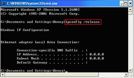 Simple Way to Release and Renew IP Address in Windows XP