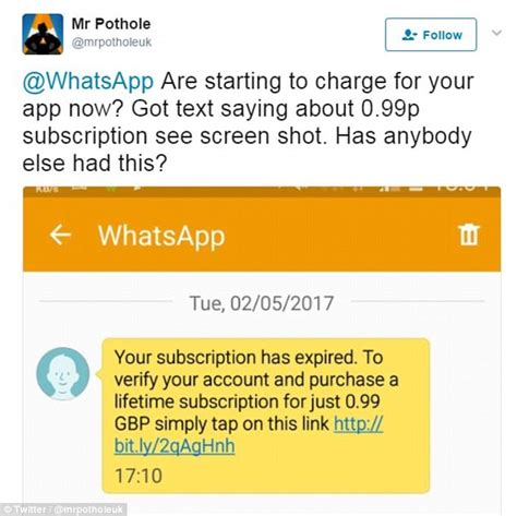 Whatsapp scam texts trick victims into paying a fee